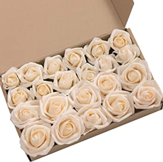 Ling's moment Roses Artificial Flowers 24pcs Realistic Cream Rose Buds and Petite Roses w/Stem for DIY Wedding Bouquets Centerpieces Boutonniere Corsages Flower Decorations