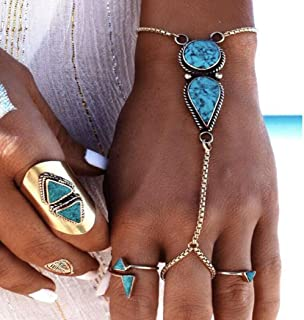 Jovono Bohemian Bracelets Beach Vintage Ethnic Turquoise Fingered Bracelet for women and girls