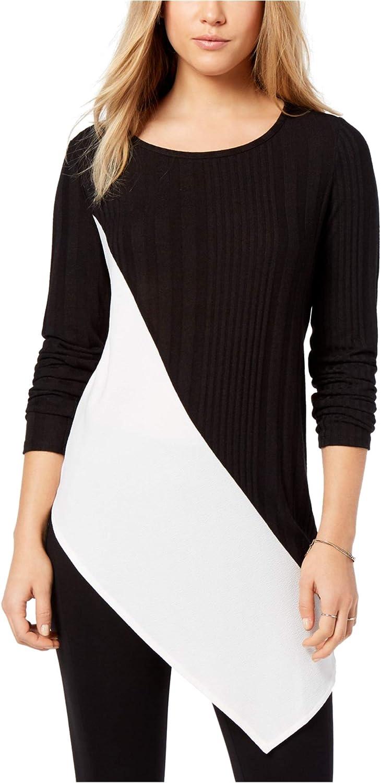 Bar Iii Womens MixedMedia Asymmetrical Top Embellished TShirt