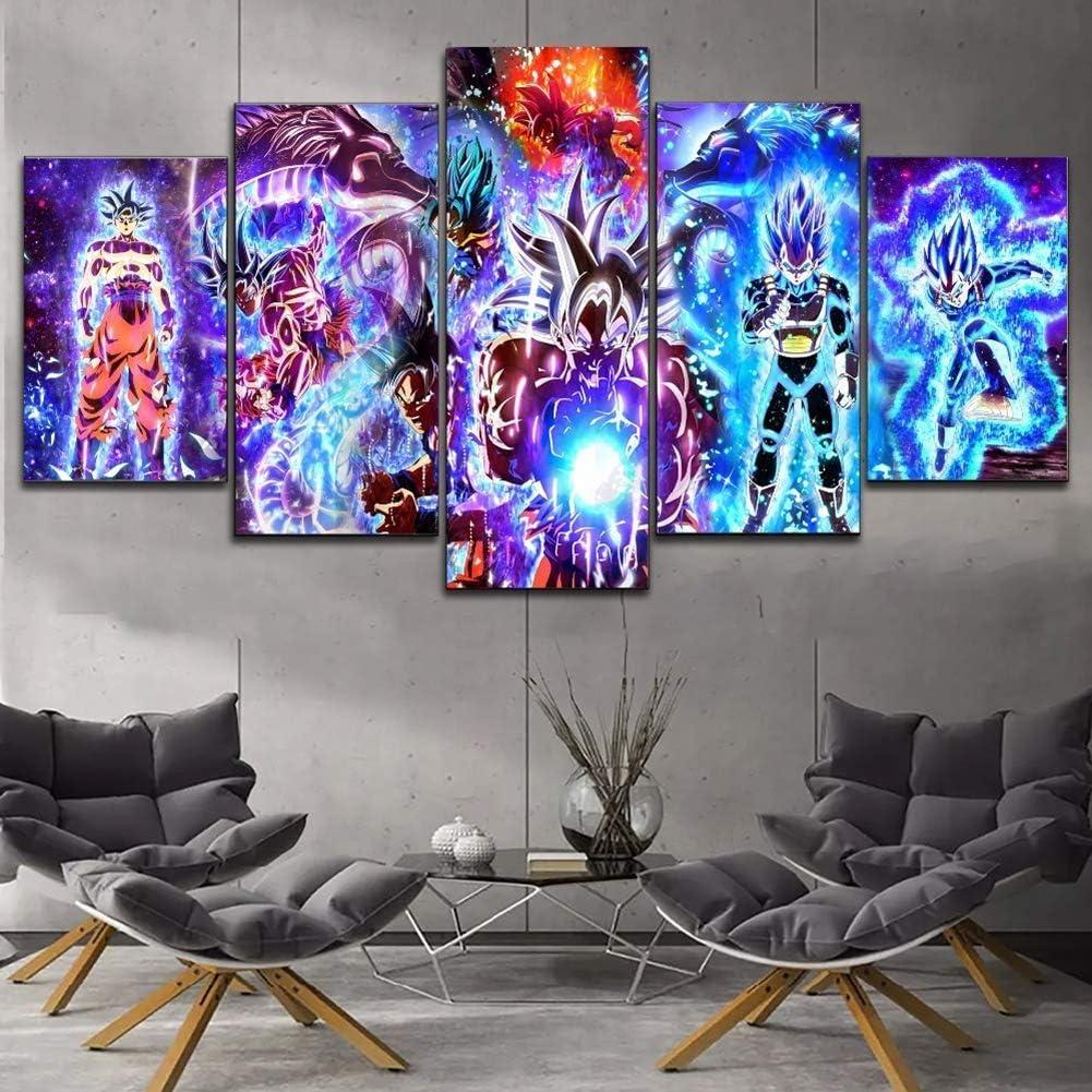 WPQL Dragon Ball Super Son Goku Vegeta IV Super Saiyan 5 lienzo art/ístico mural impresi/ón moderna familia ni/ño decoraci/ón p/óster 30 x 45 cm
