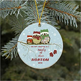 Christmas Ornament Our First Christmas As A Family of Three Ornament 2019 Horton Christmas Tree Ornament 2019 Present Lovely Ceramic Tree Decoration Happy Holidays 3 Inches
