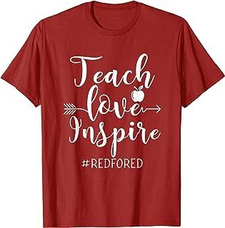 Teach Love Inspire Red For Ed T-Shirt Teacher Supporter T-Shirt