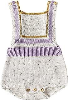 Newborn Baby Girls Knit Strap Romper Geo Graphic Striped Jumpsuit Bodysuit