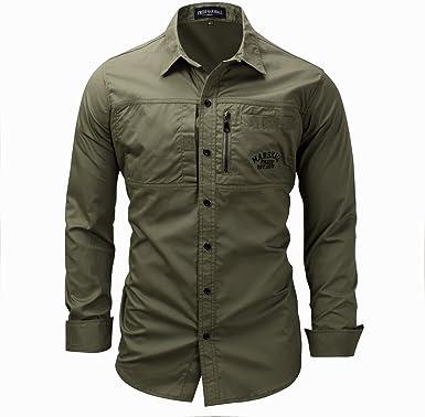 Mempire Camisa Hombre Slim Fit Manga Larga Camisa Casual ...