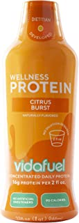VidaFuel Daily Wellness Protein, Citrus Burst, Collagen and Whey, Bone and Joint Support, Increased Strength, Immune Boosting, Hair and Skin Health, No Artificial Sweeteners, 32 fl. oz. Bottle