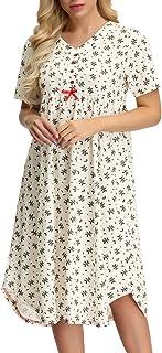 Zexxxy Women Nightgown Victorian Style Short Sleeve Sleepwear