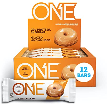 ONE Protein Bars, Maple Glazed Doughnut, Gluten-Free Protein Bar with 20g Protein and only 1g Sugar, Snacking for High Protein Diets, 2.12 Ounce (12 Pack)