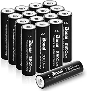 BONAI AA Rechargeable Batteries 2800mAh 1.2V Ni-MH Low Self Discharge 16 Pack - UL Certificate for Solar Lights, Garden Lights