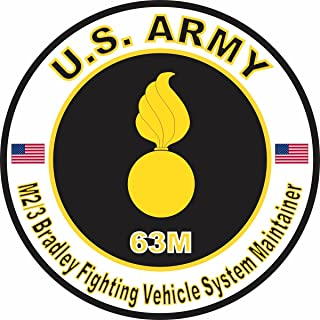 Military Vet Shop U.S. Army MOS 63M M2-3 Bradley Fighting Vehicle System Maintainer Window Bumper Sticker Decal 3.8