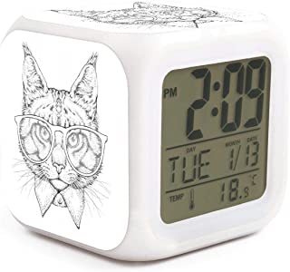 Gray Cool Cat Wearing Glasses Alarm Clock Displays Time Date and Temperature Soft Nightlight for Kids Home Office Bedroom Heavy Sleepers