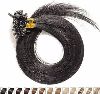 S-noilite® Extensiones de queratina de pelo natural - 55CM - 100 mechas (0.5g/mecha) - Pre bonded Nail Tip U-tip Remy Hair Extensions - #01 Negro