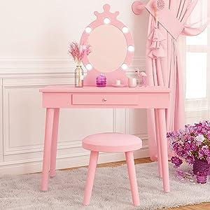 Kids Vanity with Lighted Mirror, Adjustable Brightness, Makeup Vanity Table Set for Child, Toddlers Cute Wood Vanity, Pink