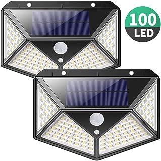 Luz Solar Exterior, iPosible [Versión Actualizada] 100 LED Foco Solar con Sensor de Movimiento Gran �ngulo 270º Impermeable Inalámbrico Lámpara Solar 3 Modos Inteligentes para Jardín, Garaje 2-Paquete