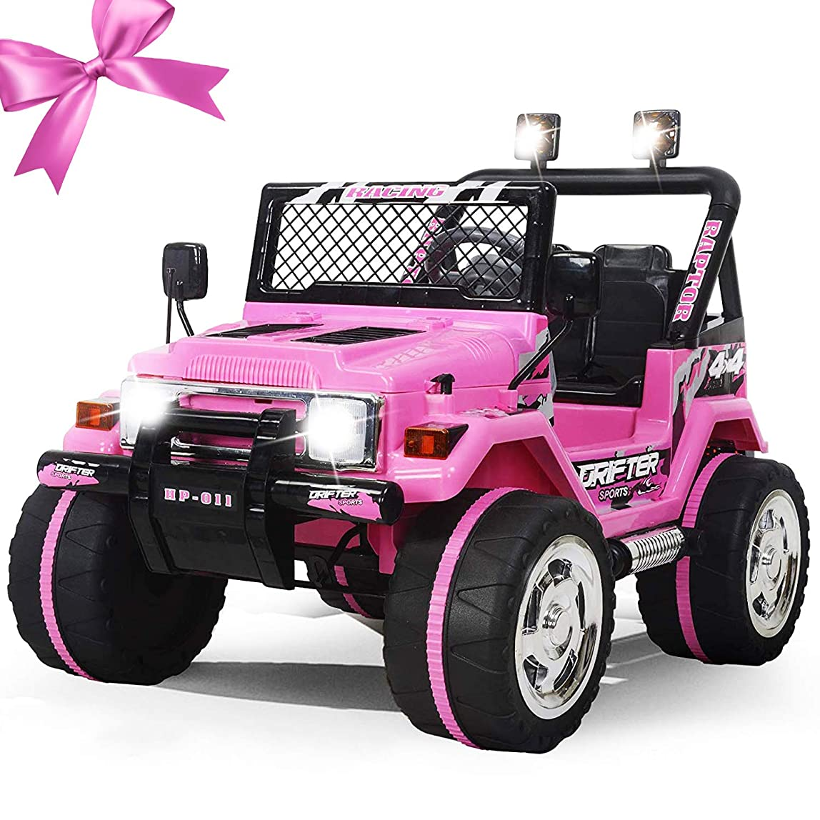 Fitnessclub 12V Ride on Car,, Children's Electric Cars Truck 3 Speed w/Remote Control Motorized Cars for Kids LED Light MP3, AUX, Kids Ride on Toys (Pink) ontgpyb782701