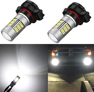 Alla Lighting Super Bright 2504 PSX24W LED Fog Lights Bulbs 4014 54-SMD LED PSX24W 2504 Fog Light Bulb 6000K Xenon White 2504 12276 PSX24W LED Bulbs for Cars Trucks Fog Lights Replacement (Set of 2)