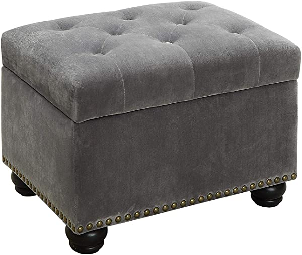HODUXYME Ottoman Foot Stool Square High Tufted Padded Hinged Storage Ottoman Bench Velvet Look Gray