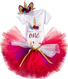 NNJXD Unicorn Rainbow Newborn Baby Girl 1st Birthday Party Dress 3 Pcs Outfits Romper+Tutu Dress+Headband