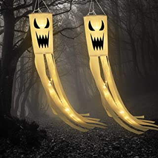 Frienda 2 Pack Halloween Ghost Windsock Flag with Warm White LED Lights Halloween Outdoor Hanging Decor for Yard Patio Gar...