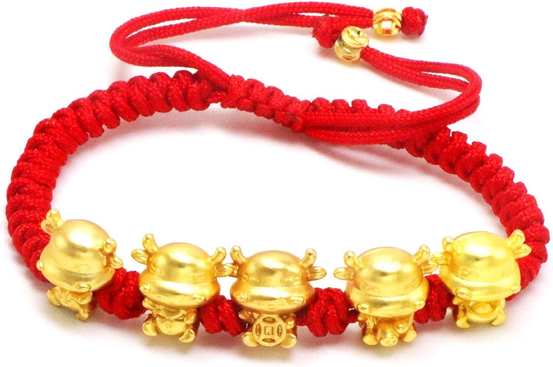 Fuqimanman2020 2021 Year of Ox Red String Bracelet Chinese Zodiac Animal Birth Year Lucky Charm Bracelet Dainty Handmade Braid Aumlet Bracelet for Women Girls Jewelry