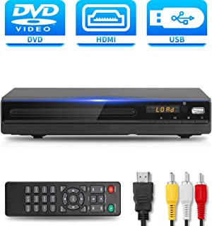DVD Player with HDMI AV Output, DVD Player for TV, Contain HD with Coaxial Output/ AV Cable/ Remote Control/ USB Input, Region Free Home DVD VCR Players, Tojock