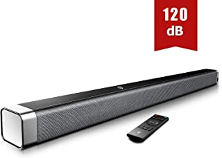 Bomaker Sound Bar, 37-Inch Home Theater TV Soundbar, Built-in Subwoofers, 4 Equalizer, Bass, Treble Adjustable, Optical/AUX/RCA/USB Connection, Remote Control Included