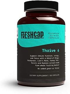 Thrive 6 Mushroom Complex - 120 Capsules - Lion's Mane, Reishi, Cordyceps, Chaga, Turkey Tail, Maitake - Supplement - Real...