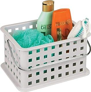 InterDesign Basic corbeille rangement, petit panier salle de bain en plastique pour accessoires de douche et soins, gris c...
