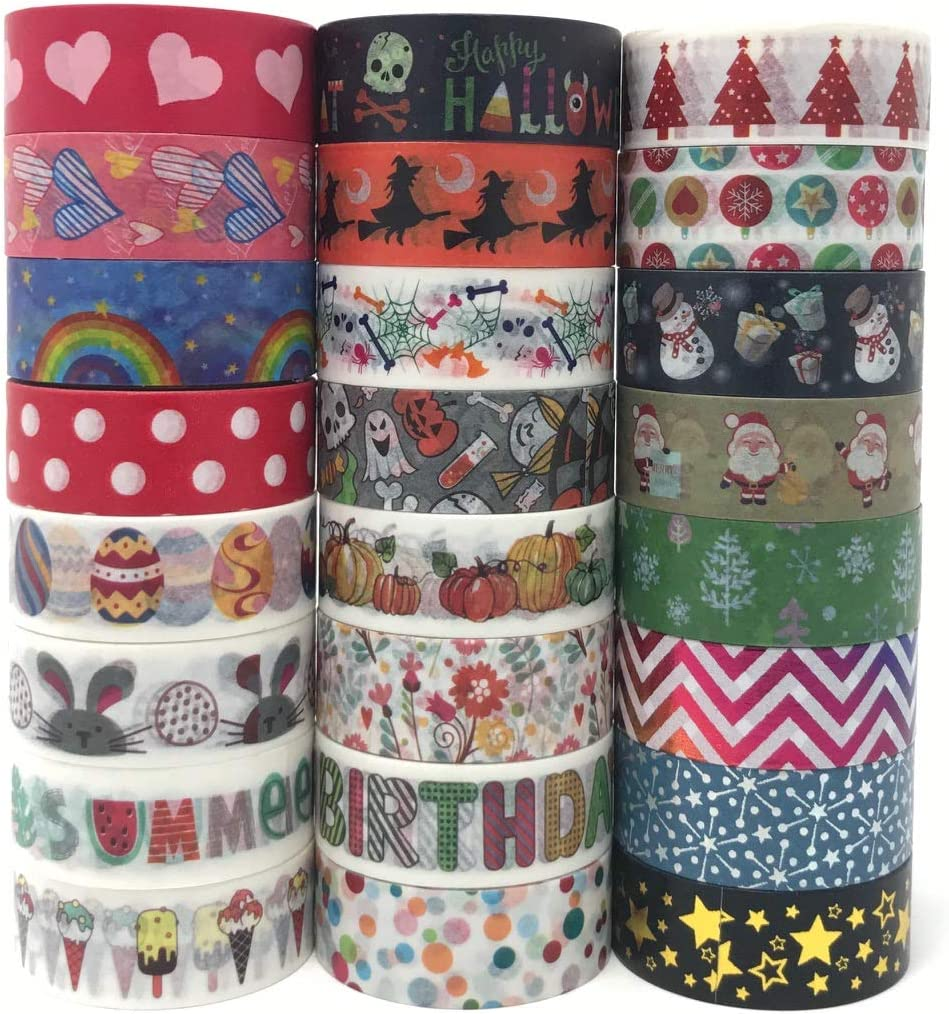 24 Rolls Holiday Washi Tape Set | Covering Celebrations in All Four Seasons | Multi-Purpose, Great for Adults and Kids; Gift Wrapping, DIY Art & Crafts Projects, Scrapbook, Journal