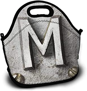 Shopping Bag, Pattern Printing, Letter M, Zinc Iron Steel Alphabet Typeset with Grunge Scratched Texture Industrial Image, Picnic Bag, Sundries Bag, Lunch Bag, Silver Gold, 5.5x11x11 inch