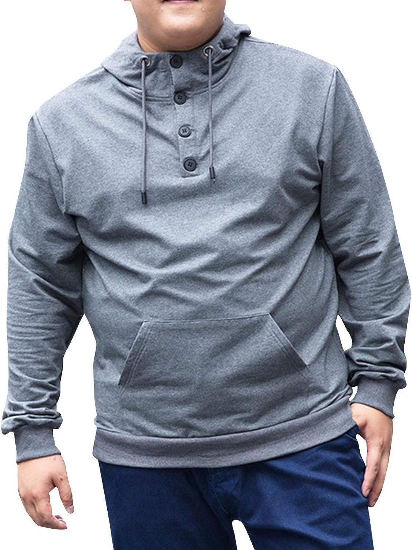 SUNFURA Men's Casual Big & Tall Lightweight Pull On Closure Hooded Sweatshirt