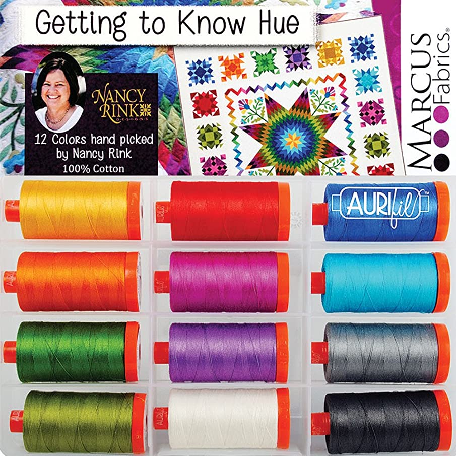 Nancy Rink Designs Getting to Know Hue Aurifil Thread Kit 12 Large Spools 50 Weight NR50GKH12