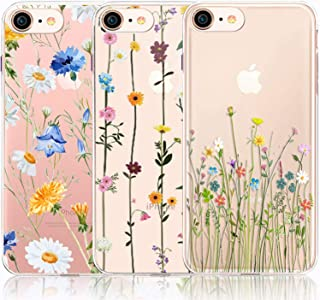 CarterLily iPhone SE 2020 Case, iPhone 7/8 Case, [3-Pack] Watercolor Flowers Floral Pattern Soft Clear Flexible TPU Back Case for iPhone SE 2020 iPhone 7/8 (Cute Wildflower)