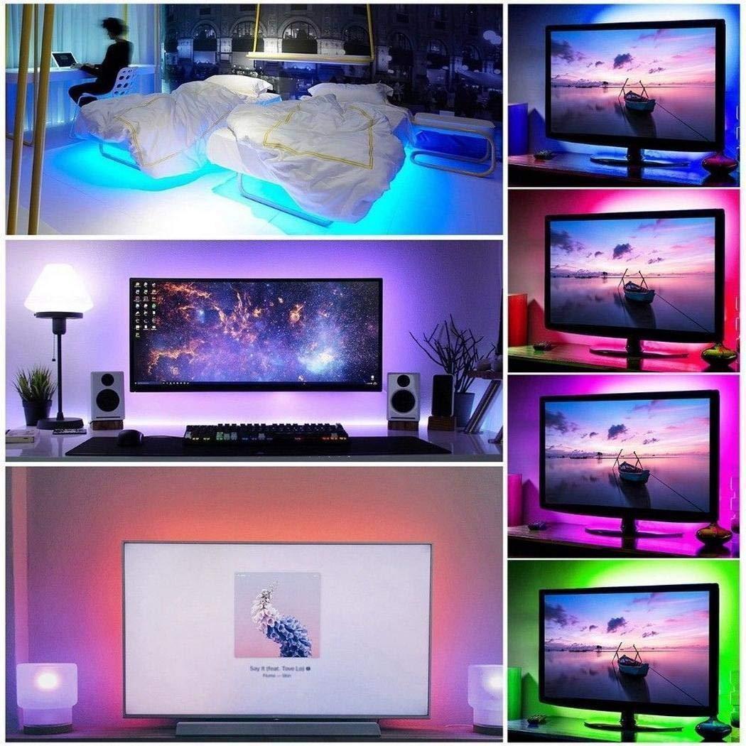 Kit de retroiluminación para TV de color negro PCB, luz LED para computadora, 24 teclas multicolor, tira de luz LED flexible con mini controlador para iluminación de fondo de TV/PC / portátil: