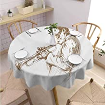 DILITECK Music Pad Round Tablecloth Jazz Man Playing Trumpet with a Pose Sketch Image Solo Show Artwork Print Excellent Durability Diameter 50