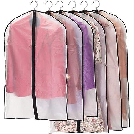 Niviy Housses de Vêtements, Anti Poussière Etanche Mite Humidité,Housses de Protection Zip Semi Transparentes pour Chemise Costumes/Manteaux, 3pcs 60 * 100cm, 3pcs 60 * 120cm