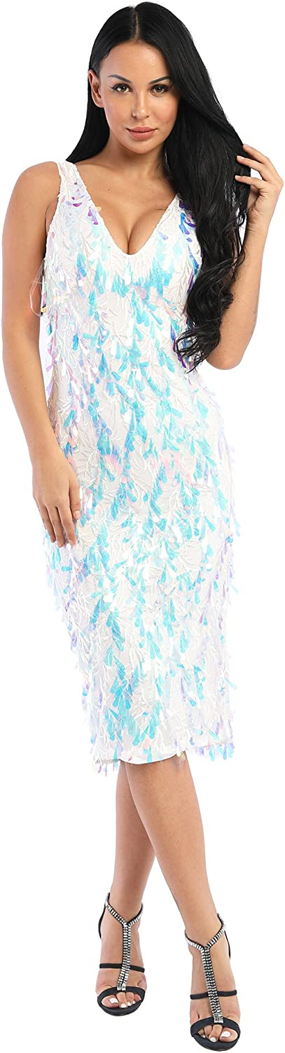 Tina Beauty Multicolor Lace Sleevelss V Neck Glittering Sequin Low Back Long Foil Dress