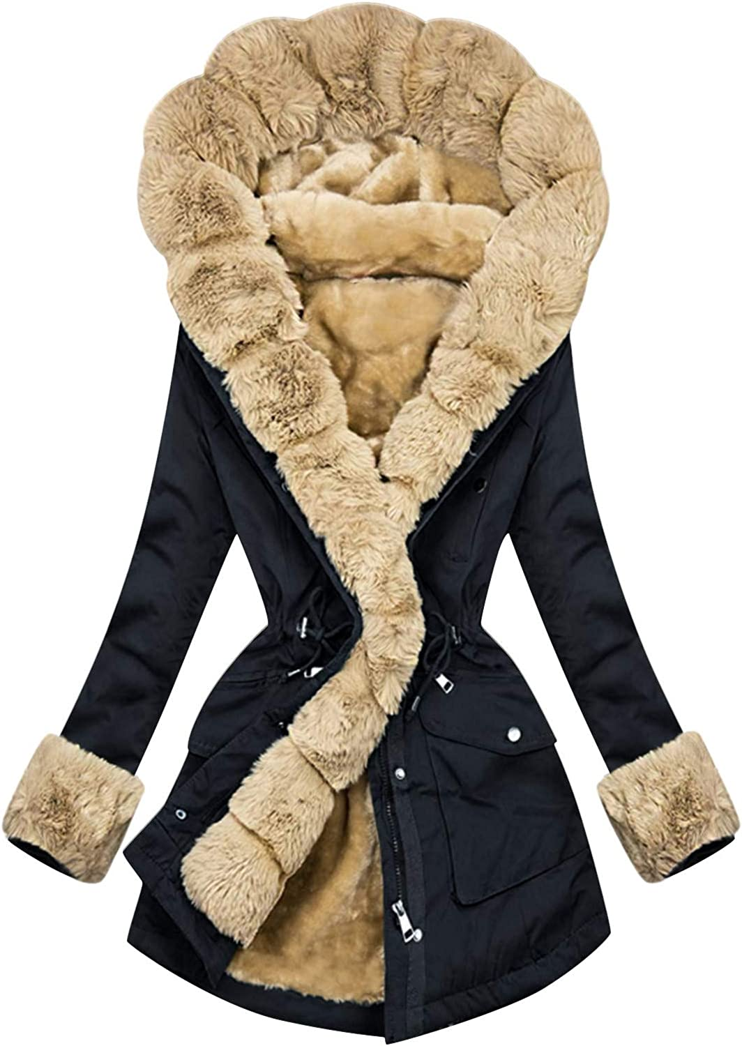 Hgndbloo Womens Button Coat Casual Jacket Hoodies Overcoat Thick Padded Outerwear Winter Long Sleeve Tops with Pocket