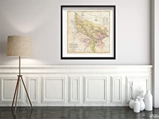 Map|1777 Rennell - Dury Wall of Delhi and Agra, India -|Vintage Fine Art Reproduction|Size: 24x24|Ready to Frame