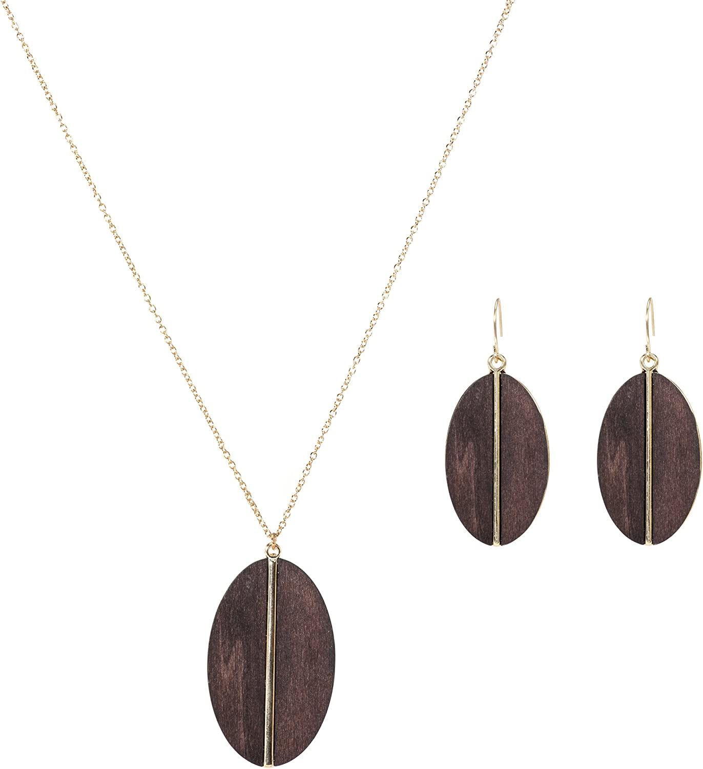 Lova Jewelry Oval Wood Charm Gold Tone Chain Necklace and Earrings – Set of Two