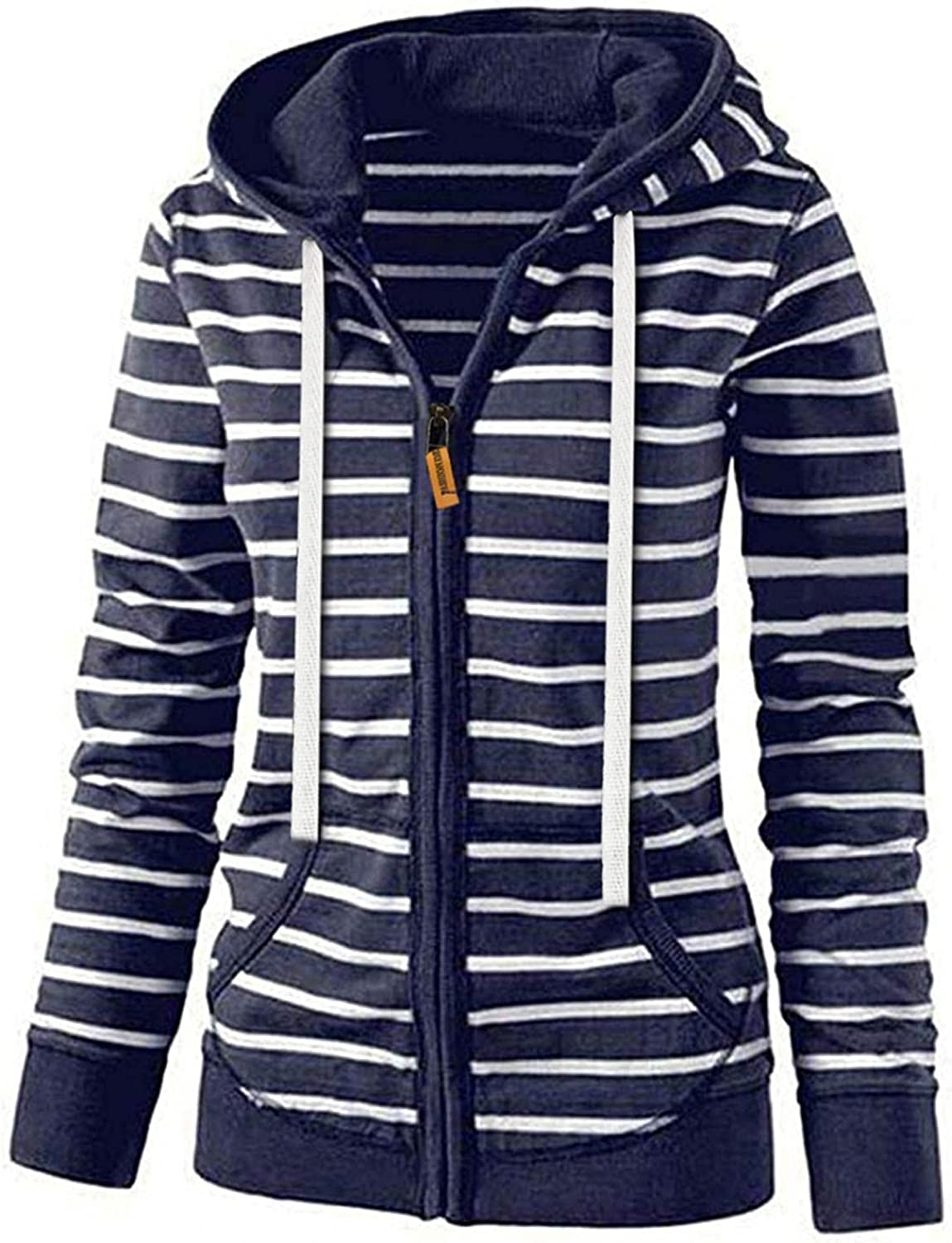 ORT Womens Y2k Zip Up Hoodies Striped Printed Graphic Oversized Pullovers Sweatshirt Jacket with Pockets