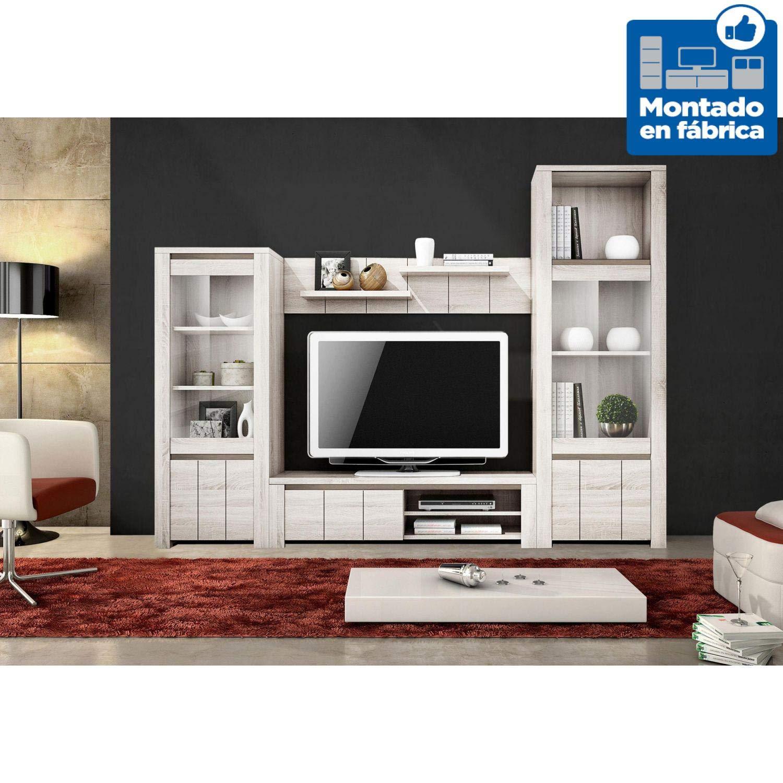 Muebles Baratos Wohnwand KOMPLETT mit TV-Möbel + Rückwand mit