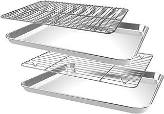 CEKEE Nonstick Steel Bakeware Set with Cooling Rack,4 PCS (2 Pans+2 Racks)Quarter Sheet Baking Pan and Cookie Tray, Non To...
