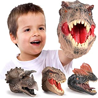 GEYIIE Dinosaur Hand Puppets, Soft Rubber Dinosaur Head Toys Set Animal puppets , Realistic Tyrannosaurus Rex, Dilophosaurus, Triceratops Puppets Toys for Kids, Toddlers, Boys, Grils, Adult, 3 Pack