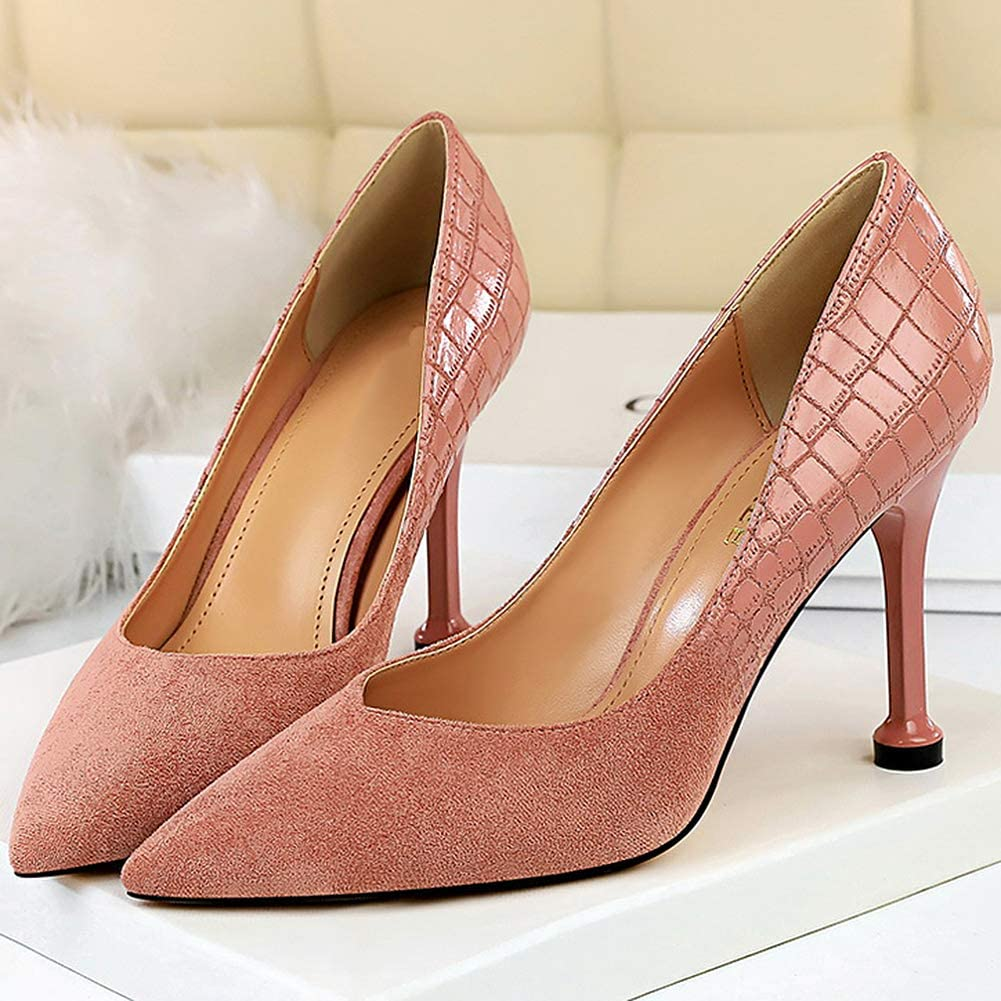 Wealsex Womens 9cm Mid High Heels Suede Court Shoes V Cut Pointed Toe Crocodile Print Evening Party Dress Shoes Size 2-6