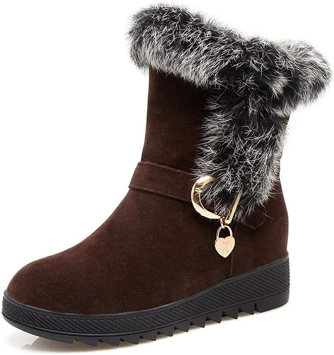 Fashion Winter Natural Rabbit Hair Snow Boots Woman Warm Flat Mid Suede Leather Short Boots