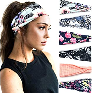 PLOVZ 6 Pack Women's Yoga Running Headbands Sports Workout Hair Bands (Set 14)