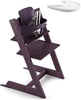 Stokke 2019 Tripp Trapp Plum Purple High Chair & White Tray Bundle