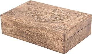 DharmaObjects Hamsa Hand of Fatima Hand Carved Jewelry Trinket Keepsake Wooden Storage Box (Fatima Hand, Large)