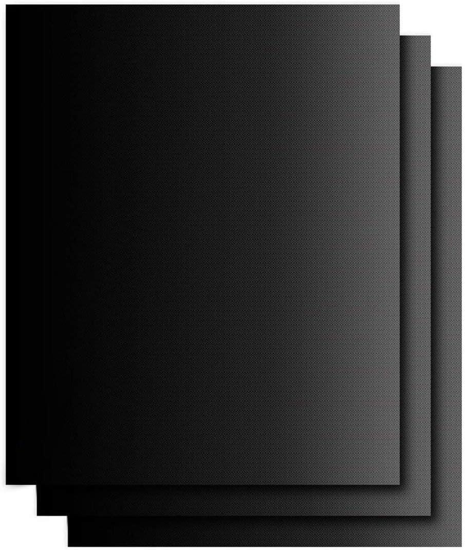 Dynamovolition Usage Extérieur Réutilisable Anti-Adhésif Barbecue Grill Tapis Pad Feuille De Cuisson Mailles Portable Pique-Nique en Plein Air Cuisson Barbecue Outil Noir (3pcs)