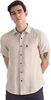 US Polo Association Men's Solid Regular fit Casual Shirt (USSH5802H_Natural 3XL)